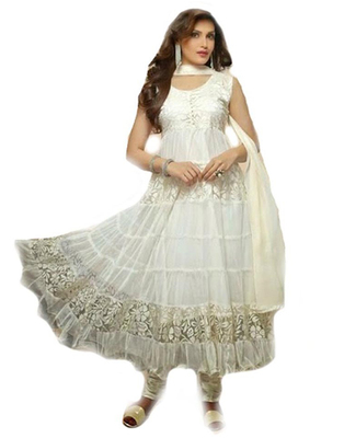off wight net hand woven semi stitched salwar with dupatta