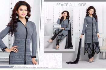 grey georgette printed semi stitched salwar with dupatta