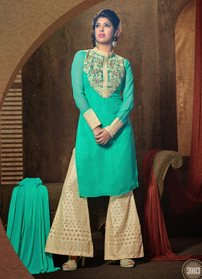 Cyan embroidered georgette semi stitched salwar with dupatta