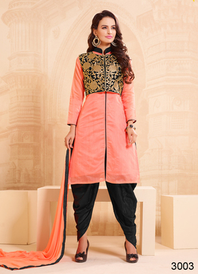 Light orange embroidered cotton semi stitched salwar with dupatta