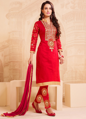 Red embroidered cotton semi stitched salwar with dupatta