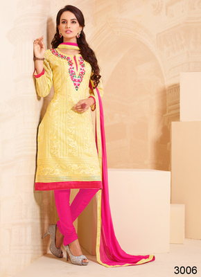 Yellow embroidered cotton semi stitched salwar with dupatta