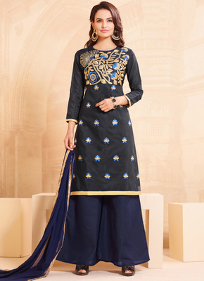 Black embroidered cotton semi stitched salwar with dupatta