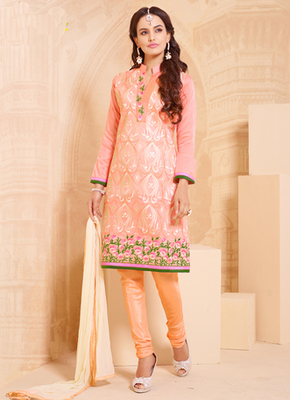 Bisque embroidered cotton semi stitched salwar with dupatta
