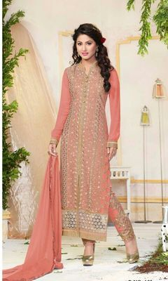 Pink georgette embroidered unstitched salwar with dupatta