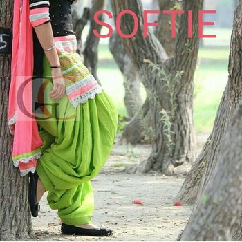 Green cottan embroidered unstitched salwar with dupatta