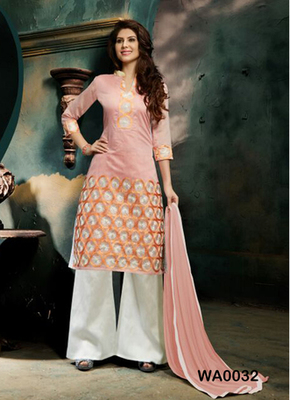 Light pink embroidered Chanderi and cotton semi stitched salwar with dupatta