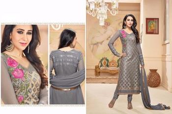 Grey georgette embroidered unstitched salwar with dupatta
