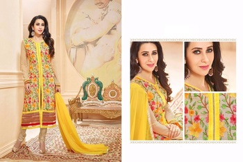 Yellow georgette embroidered unstitched salwar with dupatta