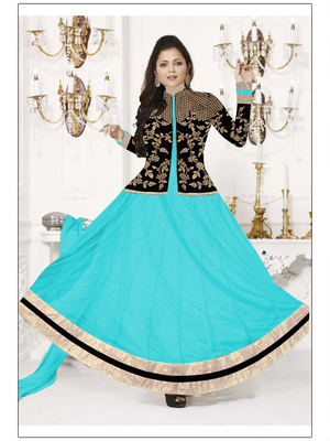 Sky georgette embroidered unstitched salwar with dupatta