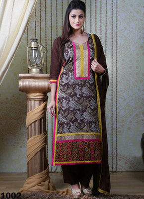 Brown embroidered Chanderi and cotton semi stitched salwar with dupatta