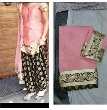Pink cottan embroidered unstitched salwar with dupatta