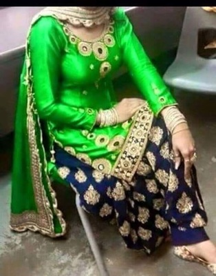 Green cottan embroidered unstitched salwar with dupatta