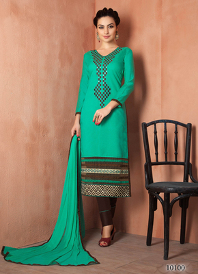 Blue embroidered Chanderi and cotton semi stitched salwar with dupatta