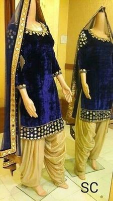 Blue velvet embroidered unstitched salwar with dupatta