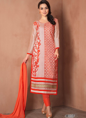 Light orange embroidered Chanderi and cotton semi stitched salwar with dupatta