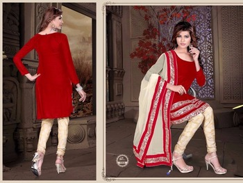 Red velvet embroidered unstitched salwar with dupatta