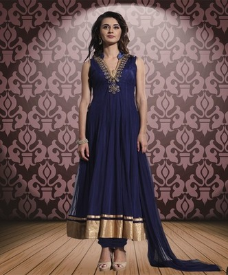 Blue net embroidered unstitched salwar with dupatta