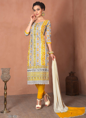 Grey embroidered Chanderi and cotton semi stitched salwar with dupatta
