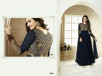 Black net embroidered unstitched salwar with dupatta