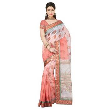 Peach printed cotton sare with blouse