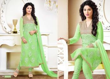 Green georgette embroidered unstitched salwar with dupatta