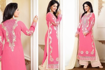 Pink georgette embroidered unstitched salwar with dupatta