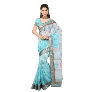 blue printed cotton sare with blouse