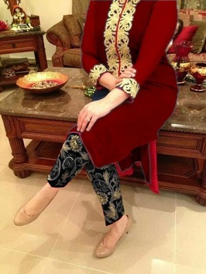 Red georgette embroidered unstitched salwar with dupatta