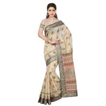 Beige printed cotton sare with blouse