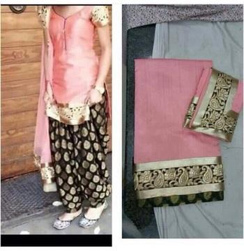 Pink cottan embroidered unstitched salwar with dupatta