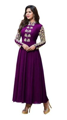 Purple georgette embroidered unstitched salwar with dupatta