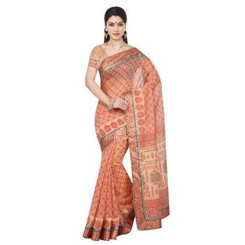 Rust printed cotton sare with blouse