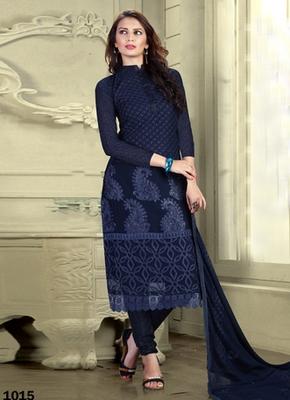 Blue Karachi Nazneen semi stitched salwar with dupatta