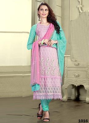 Lightpink Karachi Nazneen semi stitched salwar with dupatta