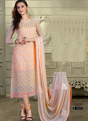 Light orange Karachi Nazneen semi stitched salwar with dupatta