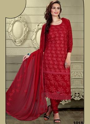Maroon Karachi Nazneen semi stitched salwar with dupatta