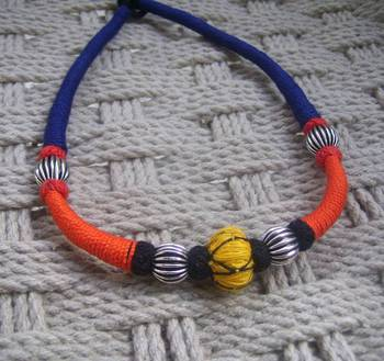 orange blue thread choker