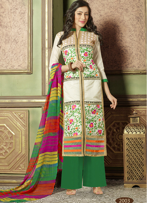 Cream embroidered Chanderi and cotton semi stitched salwar with dupatta