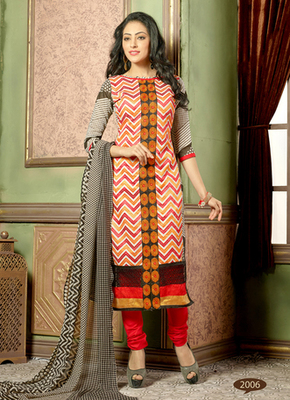 multicolor embroidered Chanderi and cotton semi stitched salwar with dupatta
