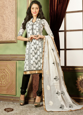 White embroidered Chanderi and cotton semi stitched salwar with dupatta