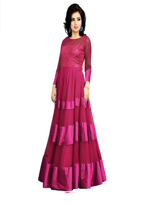 Gorgeous Net Embroidered Magenta Coloured Party Wear Designer Gowns
