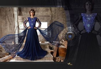 Blue net embroidered unstitched salwar with dupatta