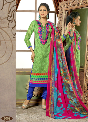 Green embroidered Chanderi and cotton semi stitched salwar with dupatta