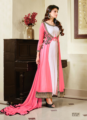 White and Pink embroidered georgette semi stitched salwar with dupatta