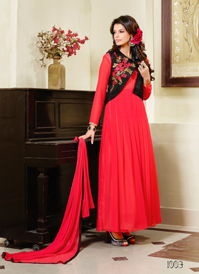 Red embroidered georgette semi stitched salwar with dupatta