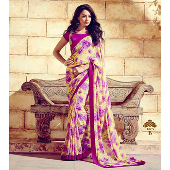 Yellow and pink printed georgette sare with blouse