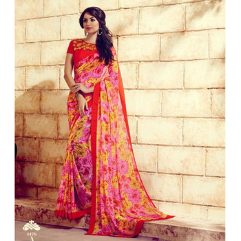 Pink and Red printed georgette sare with blouse