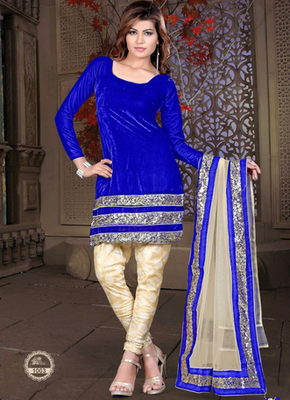 Royal Blue Heavy Sequence velvet semi stitched salwar with dupatta