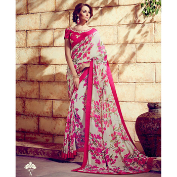 White and pink printed georgette sare with blouse